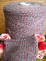 Бобинная пряжа от Pinori Filati art Profilo 80% Меринос,10% хлопок, 10% РА  310 м /100 гр. Серый с красным