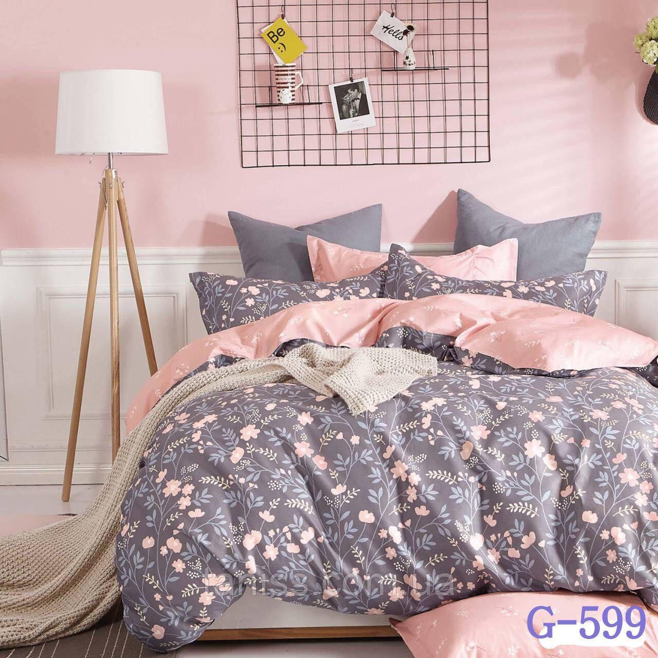 """Полуторный набор постельного белья Бязь """"Gold"""",розовый-серый, полянка (599)"""