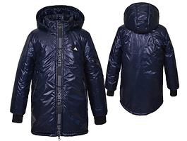 Подовжена куртка демісезонна «Футбол», синияя