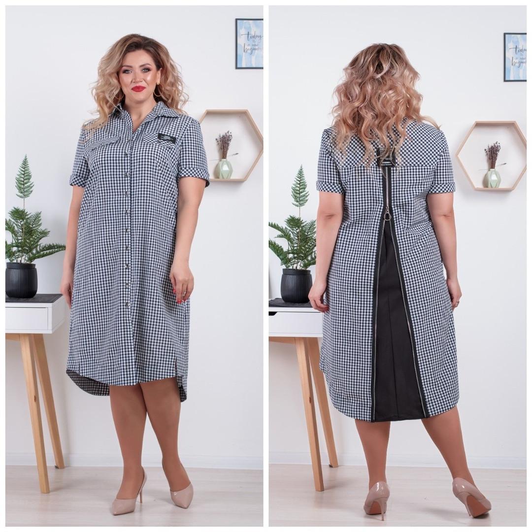 Женское летнее платье - рубашка больших размеров 52-66 в клетку