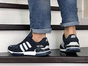 Мужские кроссовки Adidas ZX 750,темно синие с белым, фото 2