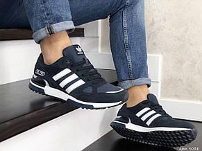 Мужские кроссовки Adidas ZX 750,темно синие с белым, фото 3