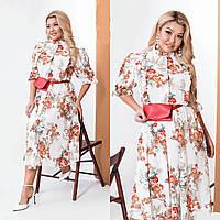 Оригинальное белое платье в цветочный принт Большого размера