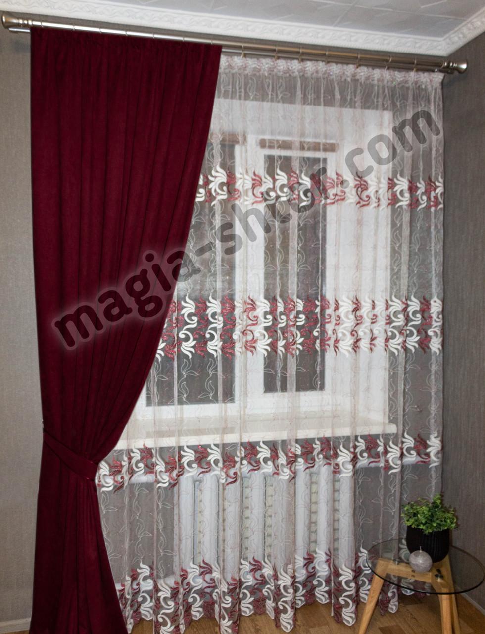 Тюль на фатине в спальню Турция, бордовая с вышивкой