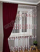 Тюль на фатине в спальню Турция, бордовая с вышивкой, фото 1