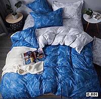 """Евро комплект постельного белья Бязь """"Gold"""", белый-синий , папоротник (801)"""