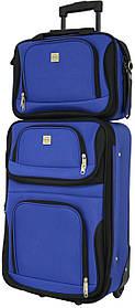 Набор дорожный качественный чемодан на колесиках и сумка в подарок для путешествий средний синий