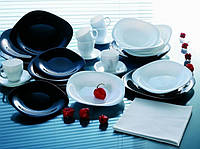 Набор квадратной черно-белой посуды 30 предметов Carine Black&White Luminarc
