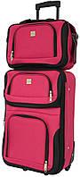 Набор дорожный качественный чемодан на колесиках и сумка в подарок для путешествий средний красный
