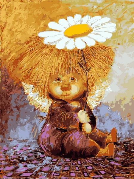 Картина по номерам VK232 Солнечный ангел с ромашкой, 30x40 см., Babylon