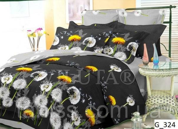 """Полуторный набор постельного белья Бязь """"Gold"""",   серый-черный , одуванчики (324)"""
