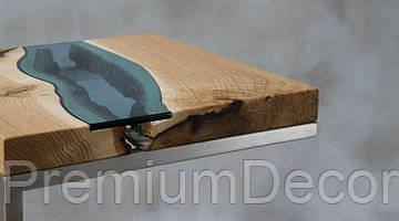 Кофейный столик из массива дерева дуба с стеклом река лофт, фото 3