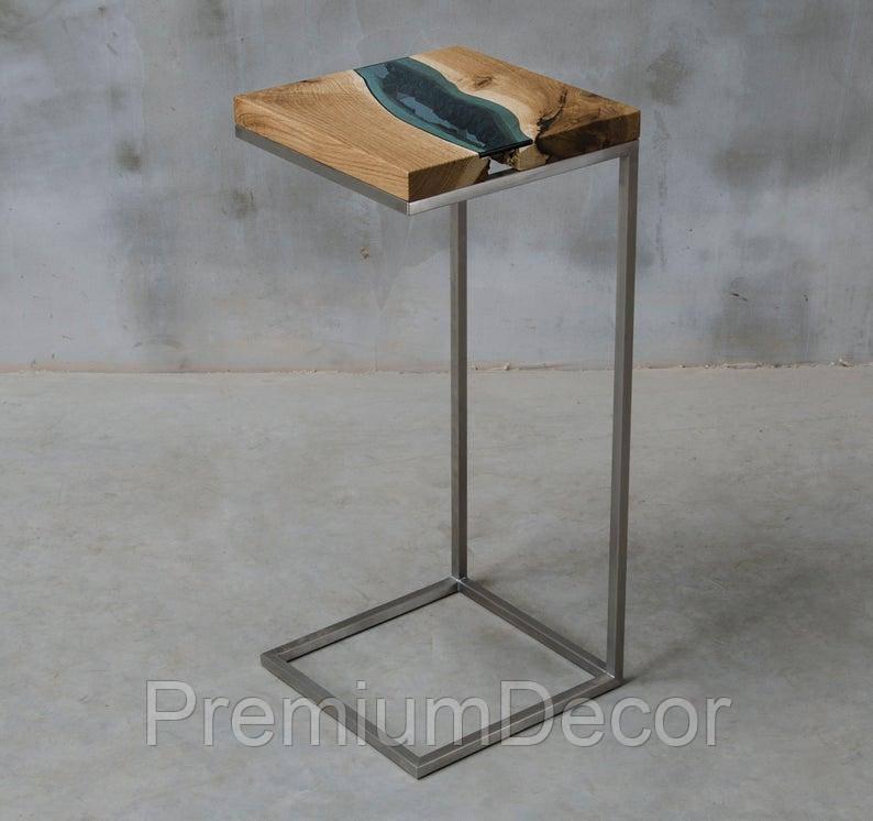 Кофейный столик из массива дерева дуба с стеклом река лофт