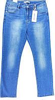 Женские летние джинсы большого 36го размера/Голубые стрейчевые джинсы/Джинсы прямые/Джинсы с высокой посадкой