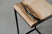 Кофейный столик из массива дерева дуба с эпоксидной смолой река лофт