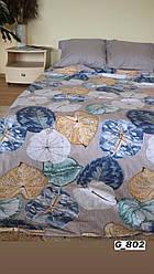 """Двухспальный набор постельного белья Бязь """"Gold"""",   серо-бежевый, кувшинки (802)"""