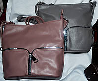 Женские маленькие мягкие сумочки на молнии 26*26 см (серая и сирень)