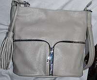Женские маленькие мягкие сумочки на молнии 26*26 см (светло-серая)