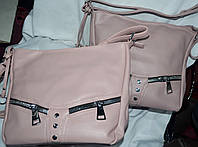 Женские маленькие мягкие сумочки на молнии 27*26 см (пудра и розовая)