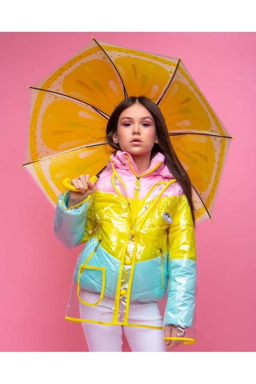 Стильная демисезонная куртка для девочки с дождевиком VKD-18 р.110