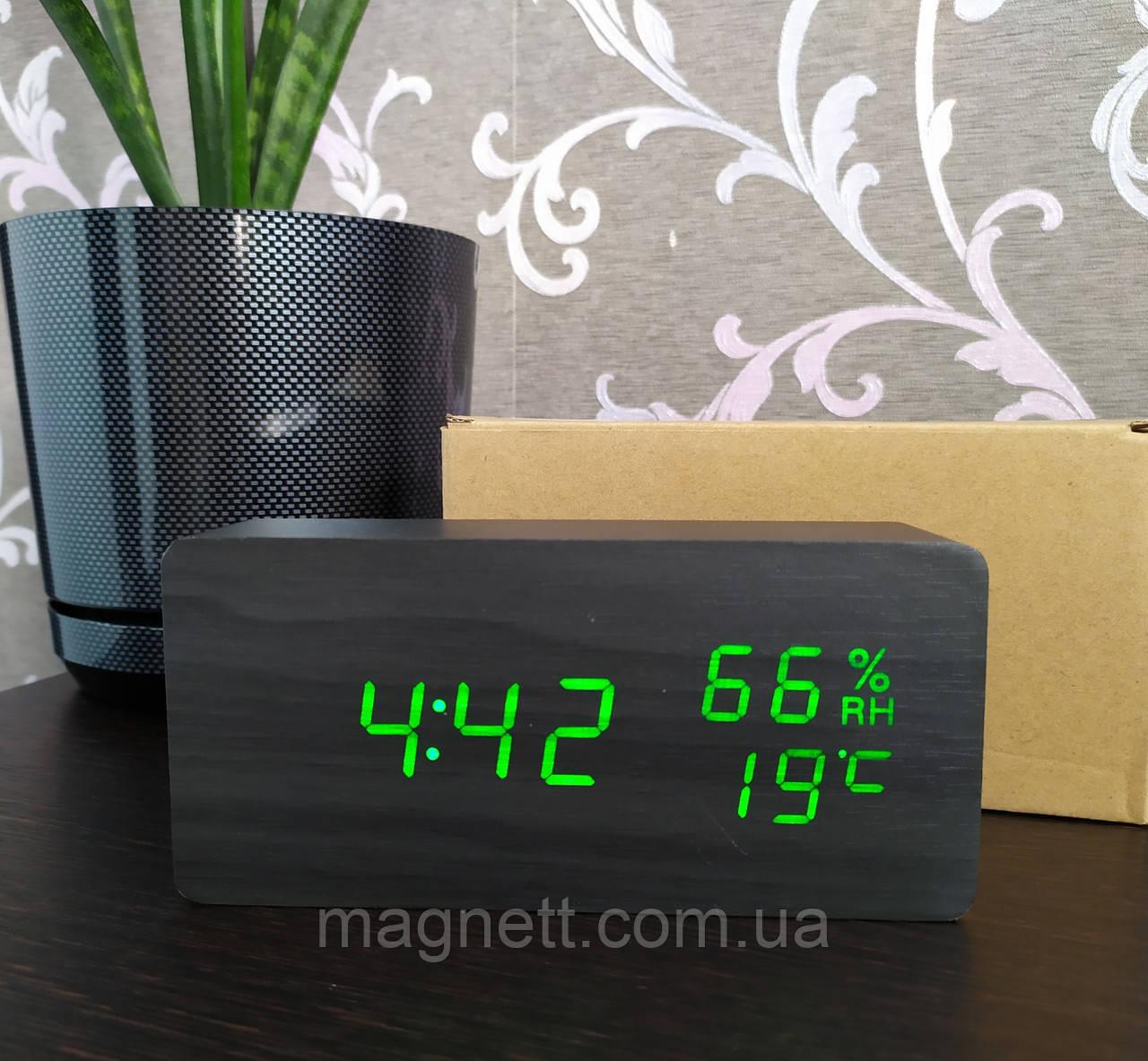 Електронні годинник VST-862S в дерев'яному корпусі з температурою і датчиком вологості (чорні з зеленим цыфрами)