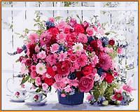 Картина по номерам на цветном холсте (в раме) 40Х50см Babylon Premium Розовые хризантемы