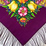 Летнее чудо 1885-15, павлопосадский платок шерстяной  с шелковой бахромой, фото 4