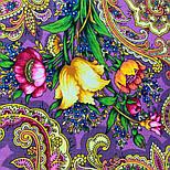 Летнее чудо 1885-15, павлопосадский платок шерстяной  с шелковой бахромой, фото 9