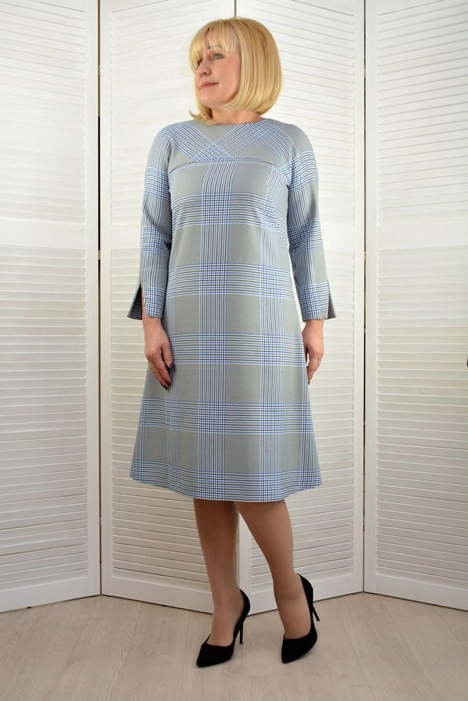Платье трапеция в клетку - Модель 1811-2