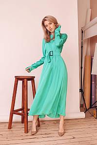 Длинное шелковое платье с юбкой-солнце 42-46 р