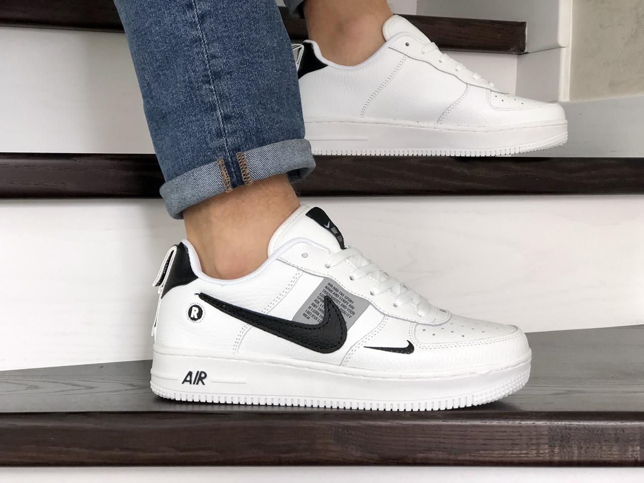 Мужские демисезонные кроссовки Nike Air Force,белые с черным
