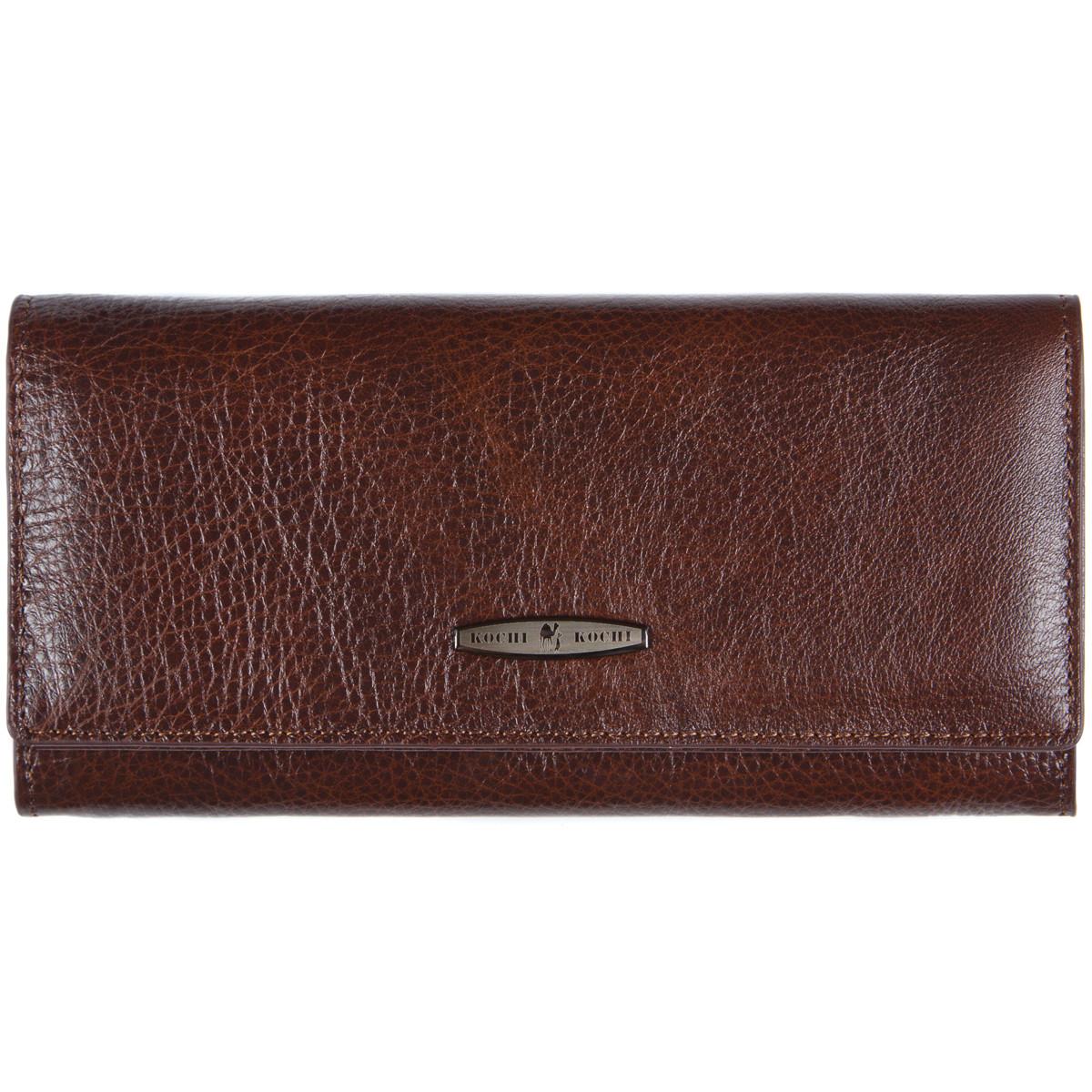 Кожаный женский кошелёк  KOCHI 190х95х30  с застёжкой кнопка коричневый м КУ2091кор