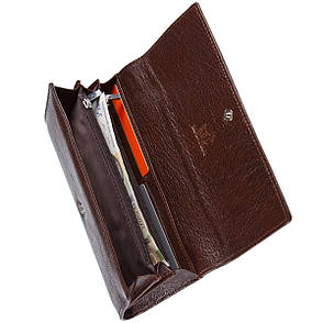 Кожаный женский кошелёк  KOCHI 190х95х30  с застёжкой кнопка коричневый м КУ2091кор, фото 2