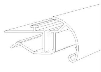 Ценникодержатель на стеклянные полки с С-образным профилем длина 100 мм. Профиль для стеклянных полок