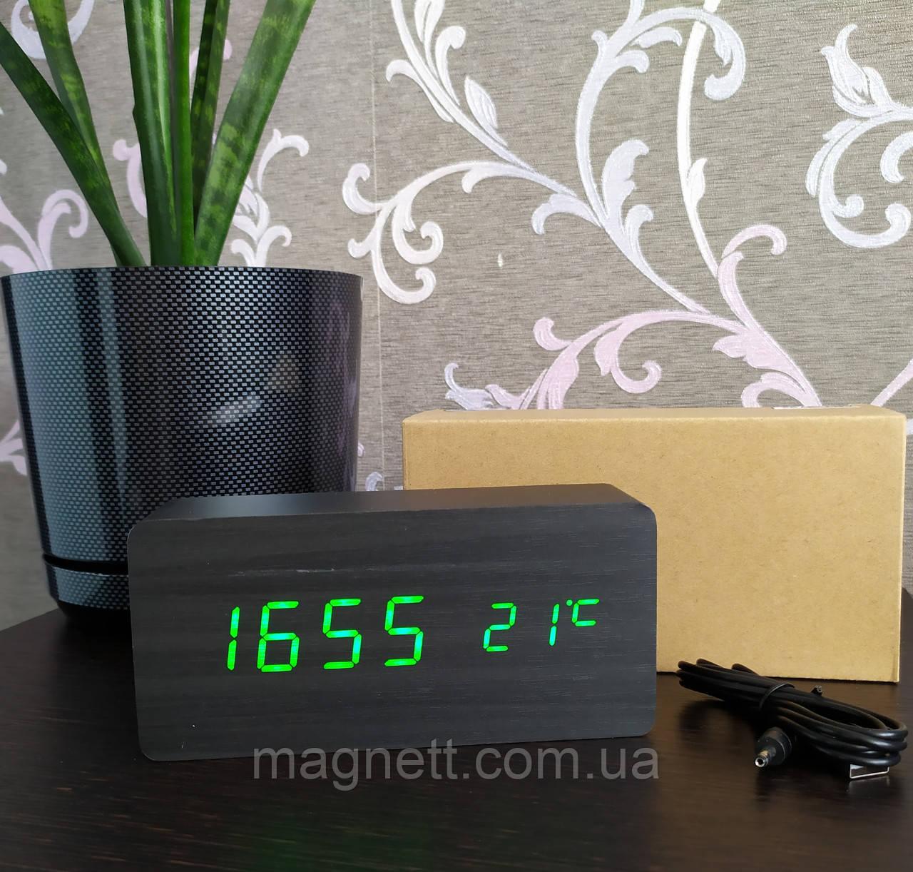 Электронные часы VST-862 в деревянном корпусе с температурой (черный корпус с зелеными цыфрами)
