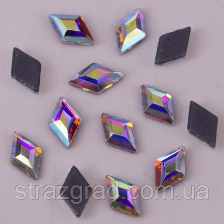 Термо стрази фігурні Premium Ромб Crystal АВ 4х6.5мм Hot Fix 10шт