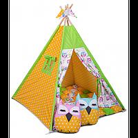 """Игровая палатка-вигвам бон-бон """"Вдохновение весны"""" с аксессуарами (желтый/белый) ТМ """"Хатка"""", фото 1"""