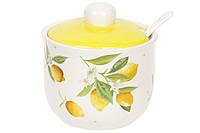Сахарница с ложкой 350 мл Сочные лимоны Bona Di DM-059-Y