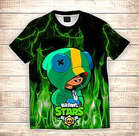 Футболка 3D дитяча BRAWL STARS LEON Green Fire, фото 1