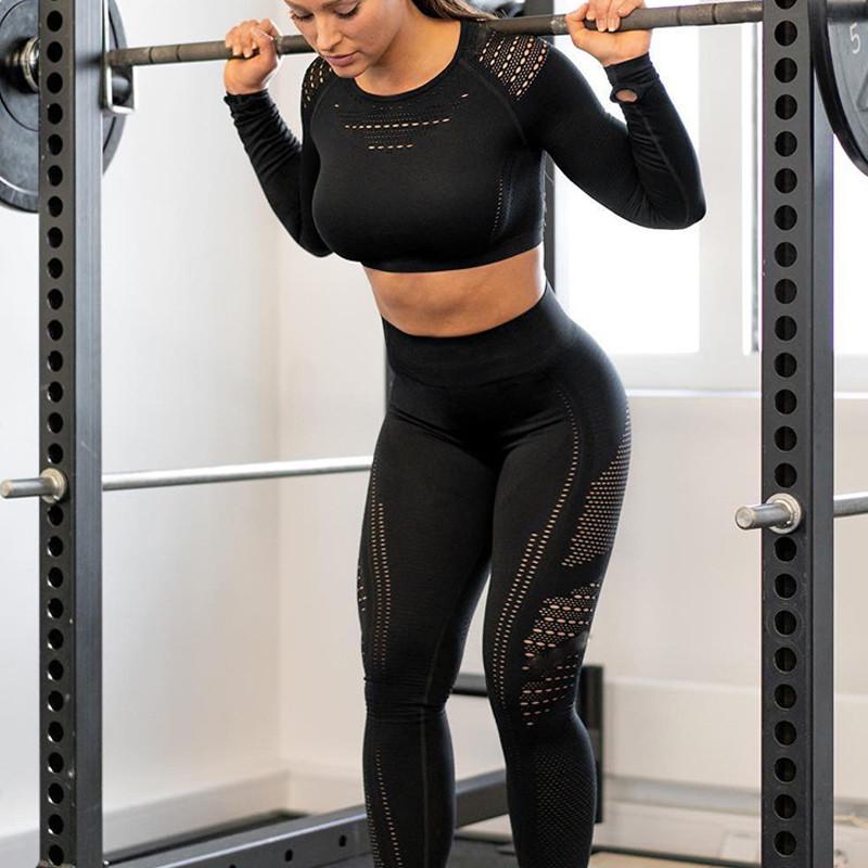 Спортивний костюм жіночий для фітнесу. Комплект безшовний (рашгард, легінси), розмір S (чорний)