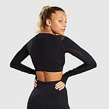 Спортивний костюм жіночий для фітнесу. Комплект безшовний (рашгард, легінси), розмір S (чорний), фото 4