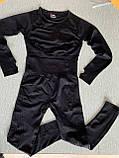 Спортивний костюм жіночий для фітнесу. Комплект безшовний (рашгард, легінси), розмір S (чорний), фото 9