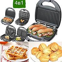 Гриль, сендвичница, бутербродница, вафельница, орешница мультипекарь Crownberg CB 1074 4 в 1, фото 1
