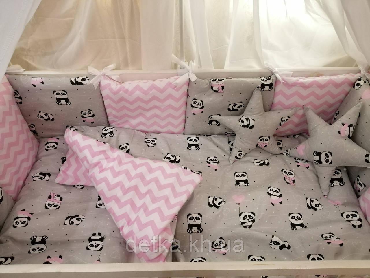 """Комплект """"Elite"""" в детскую кроватку, нежно-розовый с пандочками"""