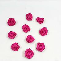 Тканинна трояндочка для декору,без зеленого пелюстки малинова 1.5 см(1 уп.10розочек), фото 1