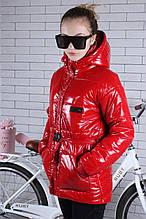 Подростковая куртка для девочки с поясом р.134-164 красная