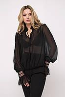 Легкая утонченная шифоновая блуза с расклешенными манжетами  (Иллюзия lzn)