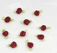 Прикраса міні -тканинна трояндочка ,темно червона 0.8 см*1.6 см(1 уп.10розочек), фото 1
