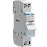 Переключатель I-0-II с общим выходом сверху, 1-полюсный, 25А/230В, 1м Hager (SFT125)