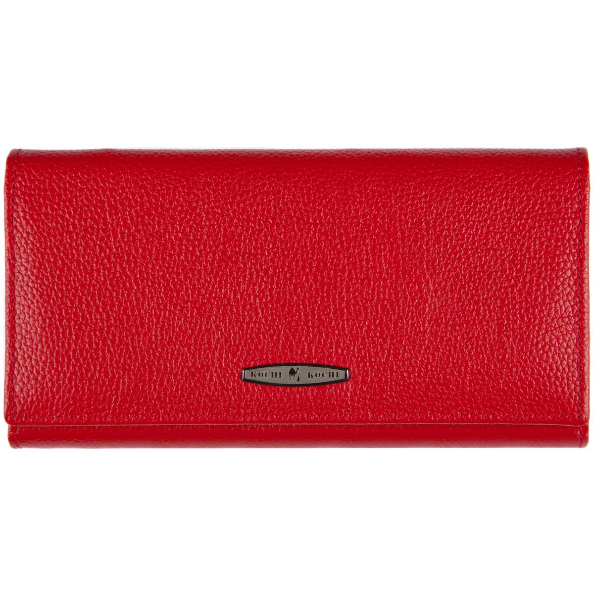 Кожаный женский кошелёк KOCHI красный с застёжкой кнопка 185х95х30  м К-306кр